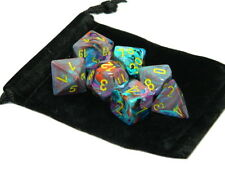 New Chessex Polyhedral Dice with Bag Mosaic Festive 7 Piece Set DnD RPG