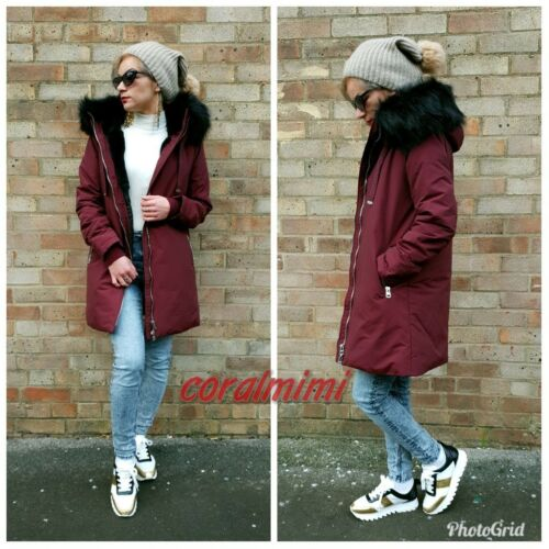 S Resistant Lined New Jacket Burgundy Water Quilted Parka Size Zara Fur Hooded dP7UqtPna