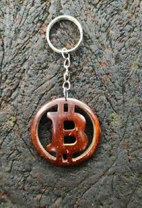 Fait Main Noix De Coco Bitcoin Key Tag porte-clés Porte-Clés Voiture Maison Bureau Cadeau