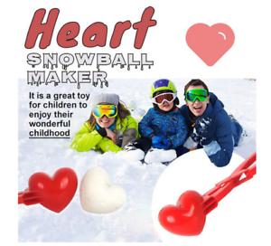 Heart Snowball Maker Winter Mold Plastic Sand Ball Tool Clip Kids Toy Outdoor UK