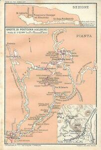 Portorose Slovenia Cartina Geografica.Postumia Postojna Grotte Slovenia Mappa Touring Club 1920 Carta Geografica Ebay
