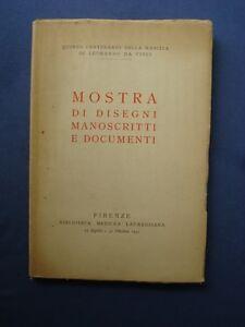 LEONARDO-MOSTRA DI DISEGNI-MANOSCRITTI E DOCUMENTI-LAURENZIANA FIRENZE 1952