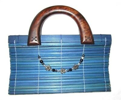 Medium Blue Handbag Purse Wood Magnetic Closure