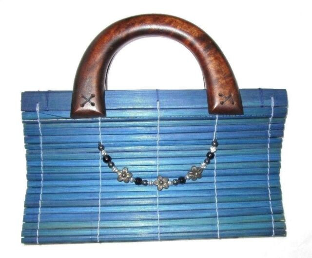Baguette Handbag Purse Blue Wood Bamboo Magnetic Closure Folds Flat