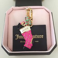 JUICY COUTURE Authentic GOLD+PINK Rare YORKIE PRESENT STOCKING CHARM, New in Box