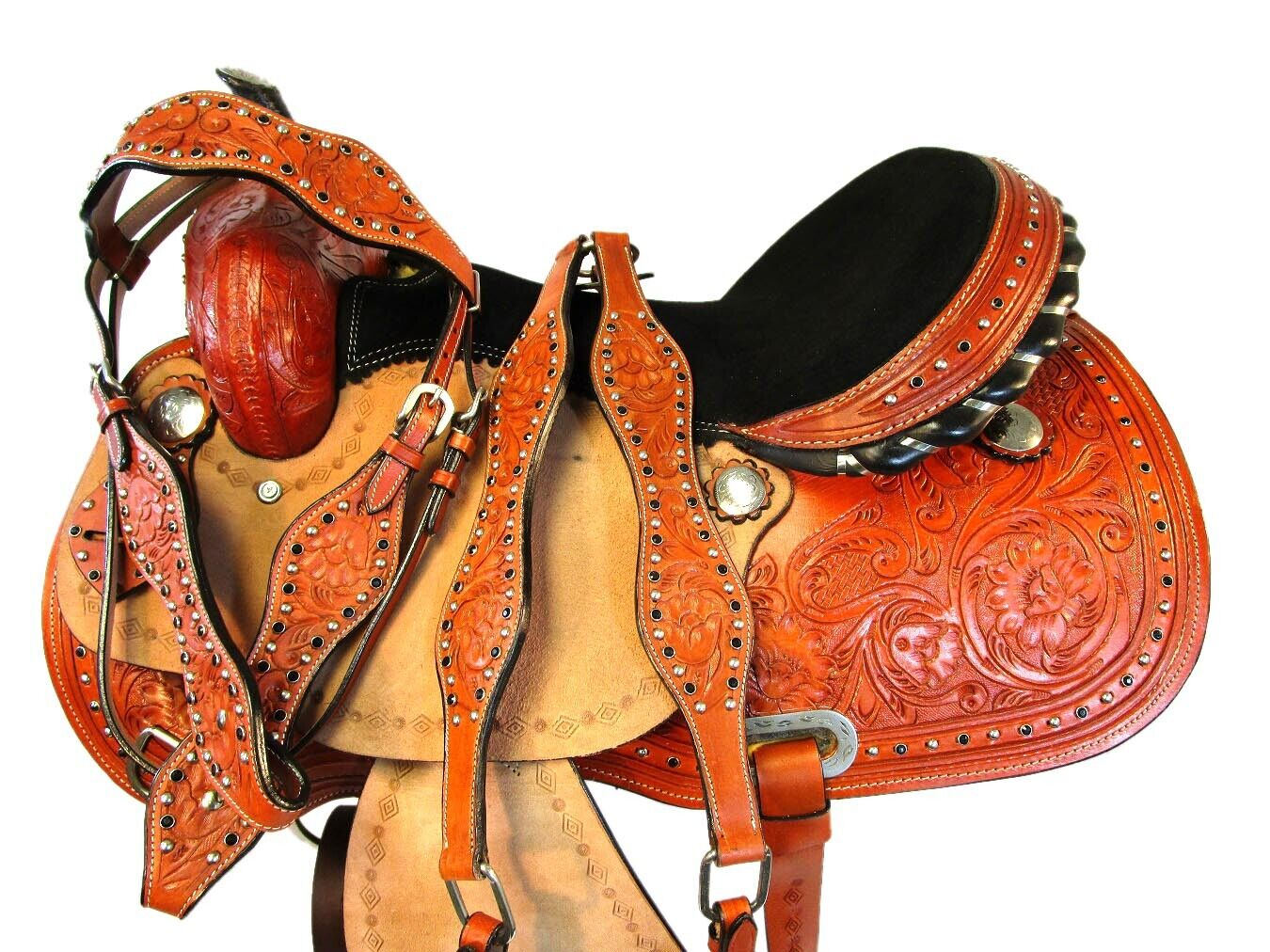 TRAIL SADDLE WESTERN HORSE PLEASURE FLORAL TOOLED LEATHER SHOW TACK SET 15 16 17