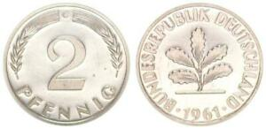Germany 2 Pfennig Currency Coin 1961G Proof Only 100 Minted