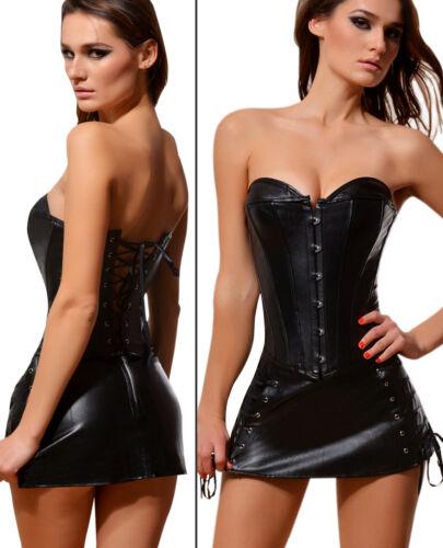 Black Leather Steel Boned Waist Corset  Dress Set Tops Bustier Basques Punk 6-24