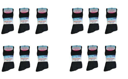 Nuevo de alto rendimiento sin Elástico Diabéticos Calcetines para hombre Talla en 6-11 Negro
