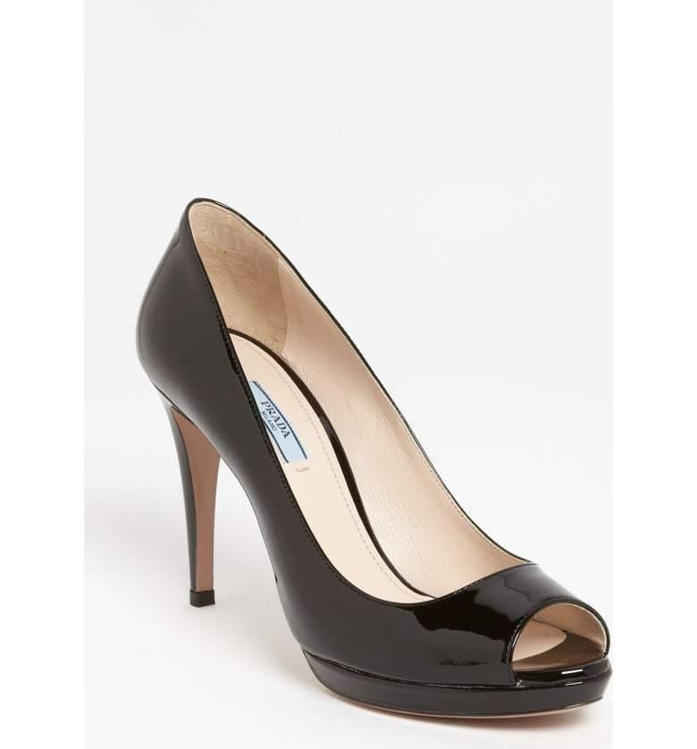PRADA Black Patent Leather Peep Toe