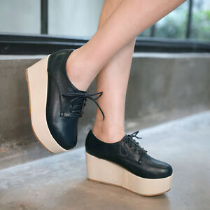 Retreo-Women-039-s-Lace-Up-Platform-Wedge-High-Heels-Round-Toe-Creeper-Shoes-Loafers