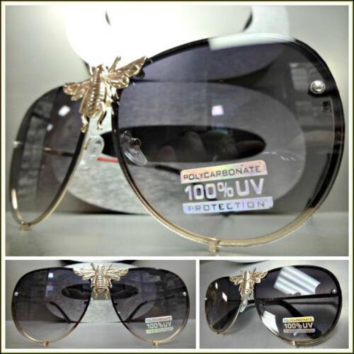Classy Elegant Vintage Retro Style SUN GLASSES Gold Metal Frame Huge Bumblebee