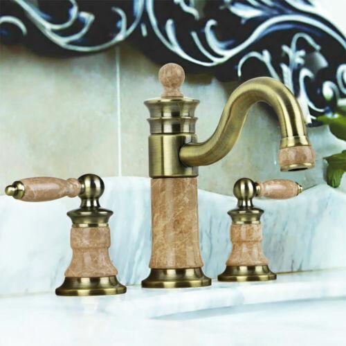 Retro 3Loch Armatur Waschbecken Waschtisch Antik Messing Marmor Sanlingo