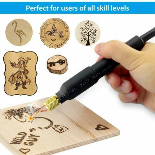 230V 60W Adjustable Wood Burning Tool Pyrography Kit Pointer Display+20 Wire Tip