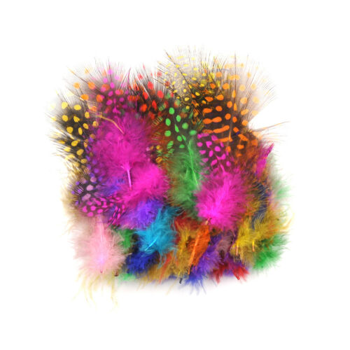 50pcs Multicolor Pearl Chicken Guinea Hen Feathers DIY Decorations Pip UK