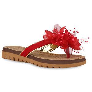 Details zu Damen Sandalen Zehentrenner Blumen Zierperlen Zehensteg Schuhe 826364 Trendy