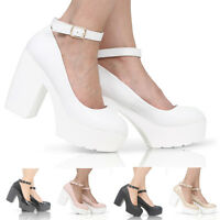 WOMENS PLATFORM LADIES CLEATED SOLE CHUNKY BLOCK HEEL COURT SHOES SIZE 3-8