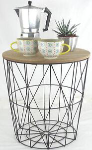 Retro Side Table Loft Style Metal Wire Basket Amp Wooden