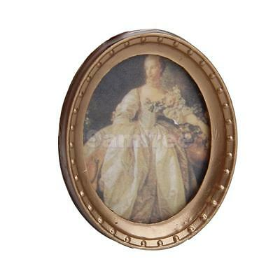 Dolls House Miniature Ornament Victorian Lady Picture in Oval Photo Frame