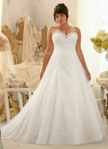 2019 Plus Size White//Ivory Bridal Gown Lace Wedding Dress:14//16//18//20//22//24//26