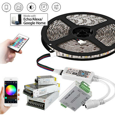 5m 20M WIFI RGB LED Strip waterproof 5050 SMD Diode Tape light remote power set