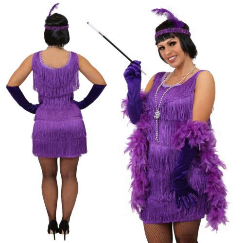 LADIES PURPLE DELUXE FLAPPER FANCY DRESS COSTUME 1920/'S CHARLESTON GATSBY TASSEL