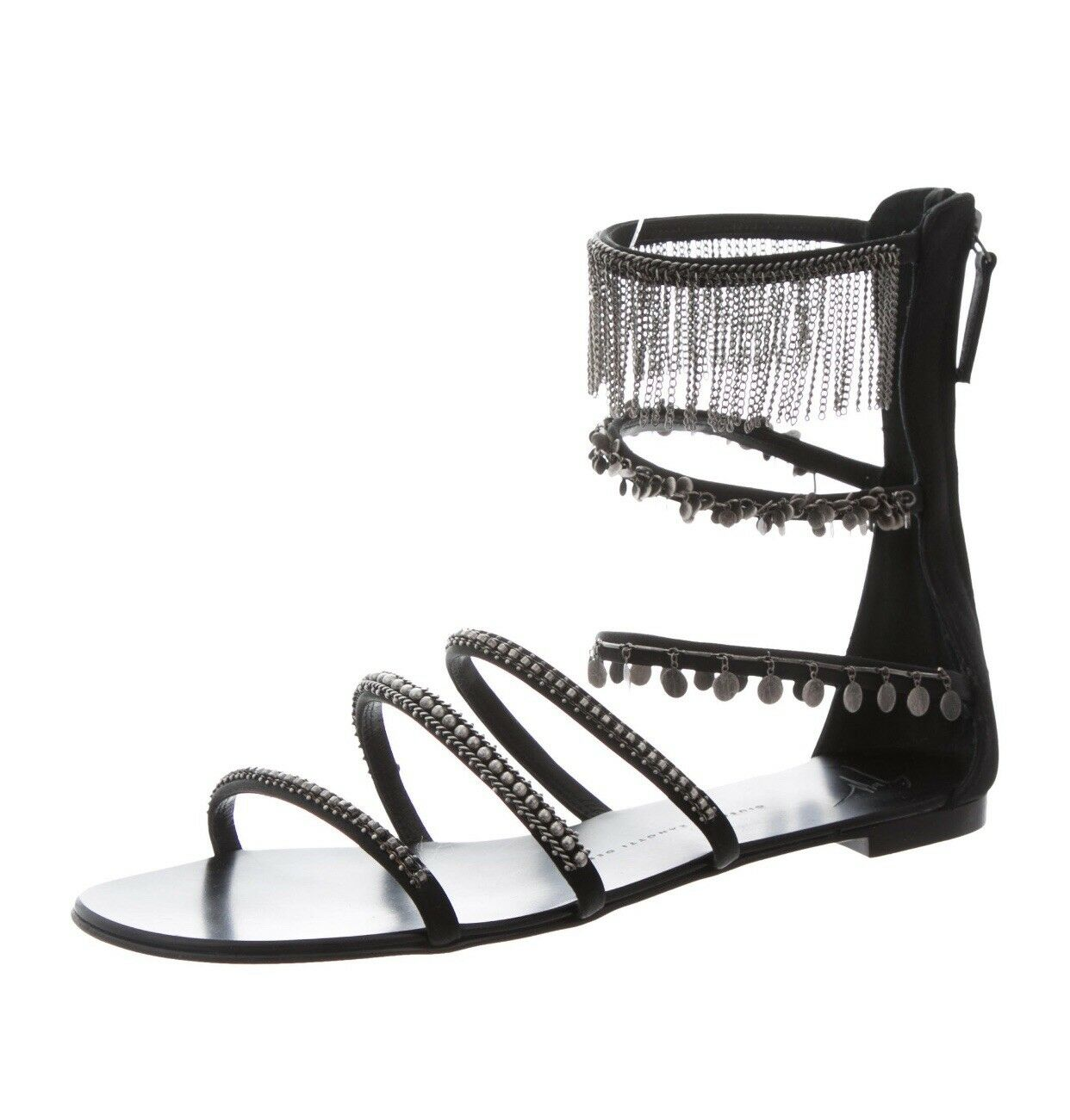 1.3K Giuseppe Zanotti Roll 10 Luxos Luxos Luxos Chain Zipper Gladiator Flat Sandals Size 41 94e5aa