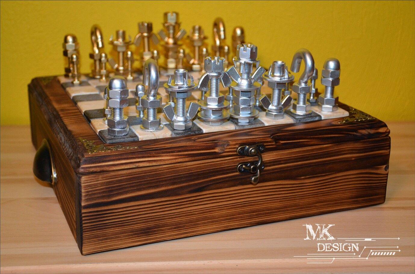 Unique Handmade Chess fait de  boulons et écrous  gros pas cher