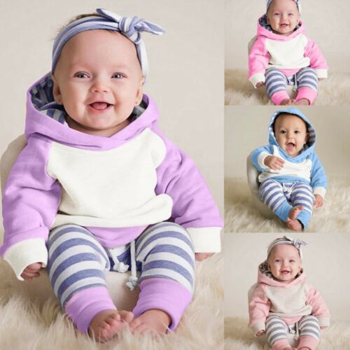 Toddler Baby Boys Girl Outfits Romper Tops+Pants Trouser Headband Jumpsuit