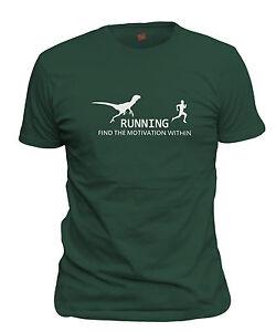 1f8403af Men's Running Raptor Motivation T-Shirt Funny Dinosaur Chasing ...