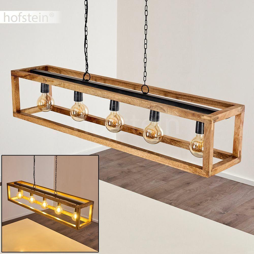 Holz schwarz Wohn Schlaf Ess Zimmer Beleuchtung Retro Pendel Hänge Leuchte Lampe
