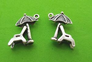 Sun Umbrella 3D Tibetan Silver Charm Pendant Jewellery Making 10X Beach Chair