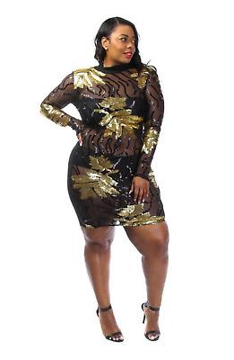 Plus Size Sexy Gold Sequin Fall Leaves Black Mesh Sheer Clubwear Dress 1X 2X 3X