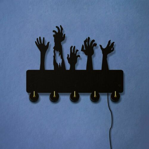 Zombie Hands Out Grave Rise From Dead Key Hook Rack WIth LED Backlight Modern