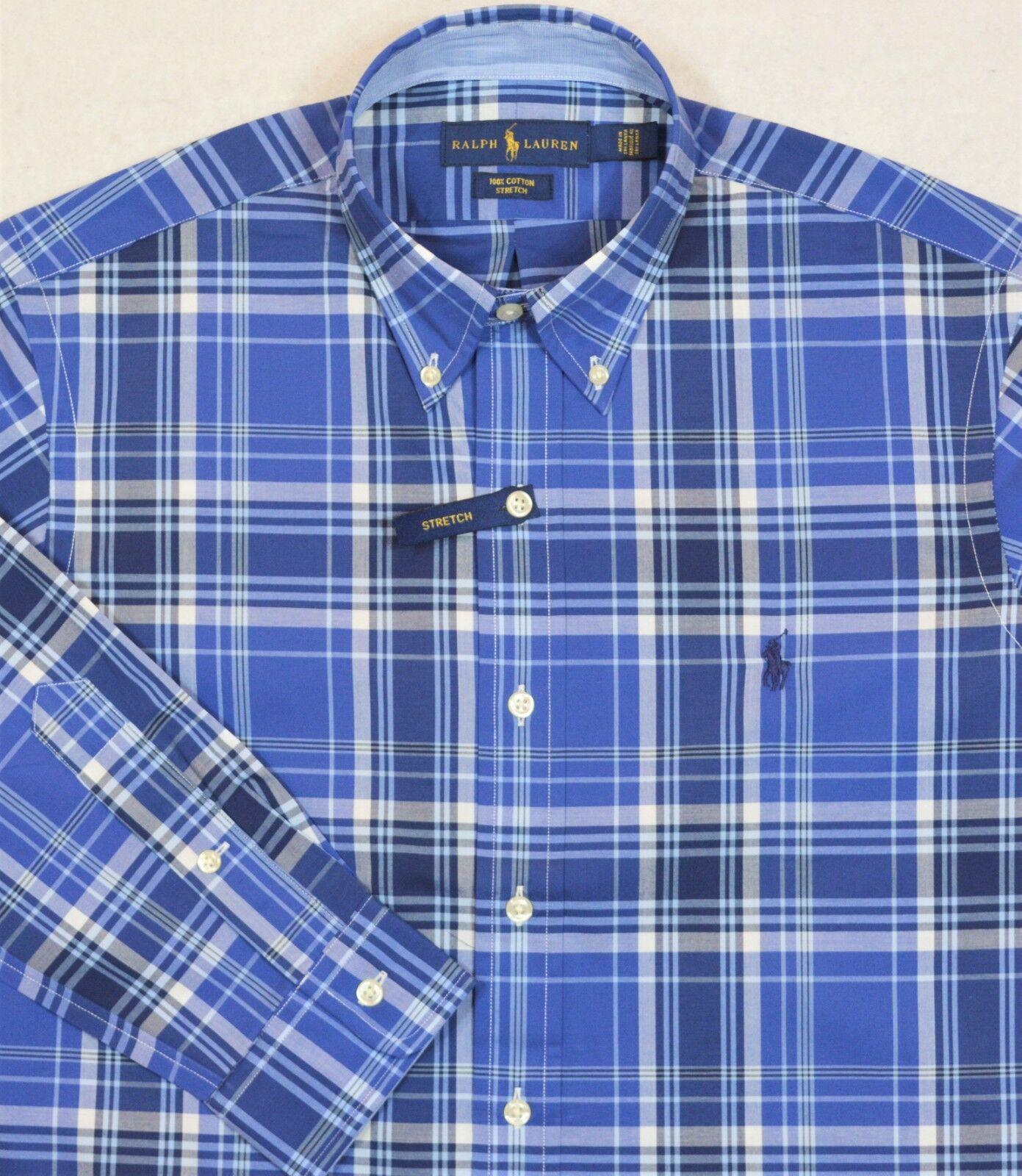 Ralph Lauren Plaid Button Front Cotton Stretch Shirt 3XB 3XLT 4XB NWT