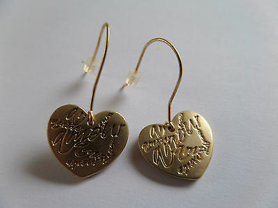 MARTINE WESTER GOLD HEART DROP DANGLE EARRINGS 2 CM new gift bag