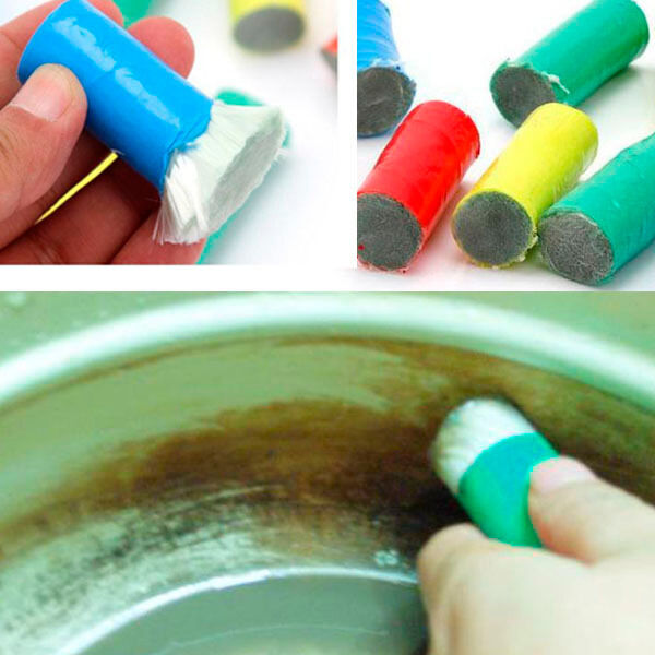 2x Stainless Steel Metal Decontamination Stick Cleaning Brushes For Kitchen