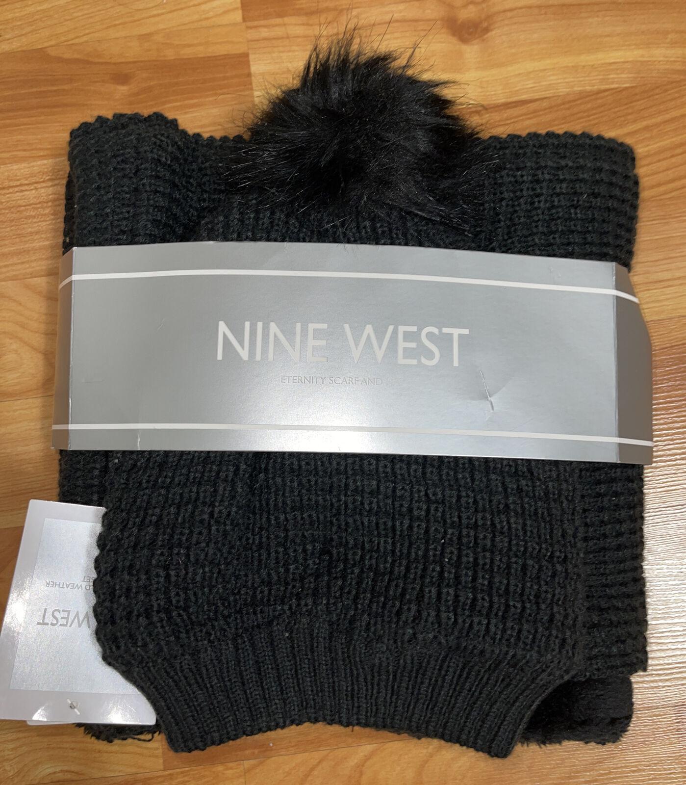 NEW NINE WEST Eternity Scarf and Hat Set Black O/S