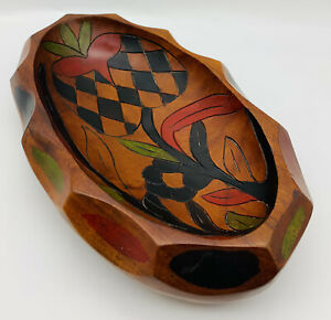 Old Unique Wooden Bowl Hand Carved Painted Flowers Fruit Wood Centerpiece 12""