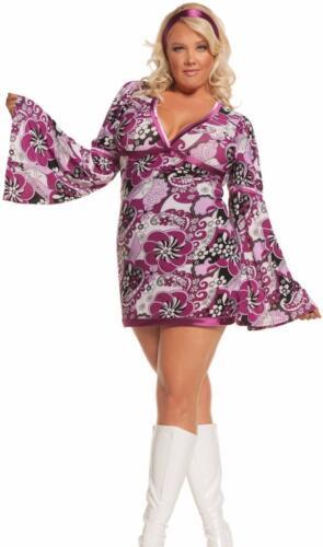 Retro Costume Purple Paisley Bell Sleeved Dress 1960s 1970s Vintage Vixen 9586