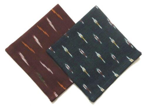 "Set of 2 Ikat Print Pocket Square Hanky Wedding Cotton 12.5/"" Red /& Green"