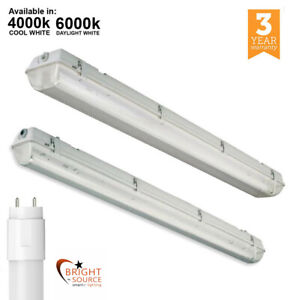 Details about Anti Corrosive T8 LED Batten Fitting Single Twin IP65  Waterproof 2FT 4FT 5FT 6FT
