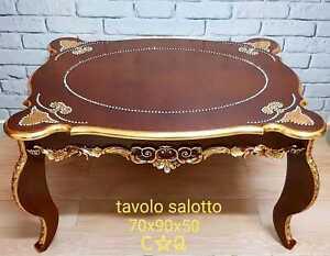 Tavolino Da Salotto Oro.Dettagli Su Tavolino Da Salotto Rettangolare In Legno Noce E Oro Con Strass