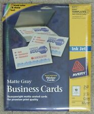 Avery 8377 Matte Gray 250 Business Cards 2 X 3 12 New In Sealed Package