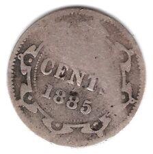 1885 Newfoundland Canada Bent 5 Cents .925 Silver Coin A68