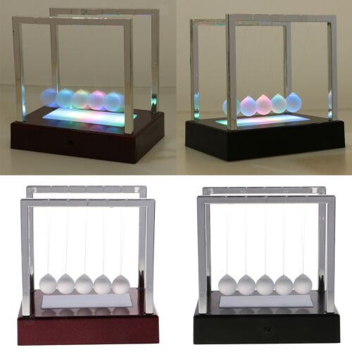 Newtons Cradle LED Light up Science Toy Office Decor Education Desk Toy Red