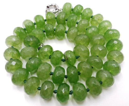 """8x12mm naturel énorme vert péridot pierres précieuses à facettes Boulier perles Collier 18/"""" AAA"""