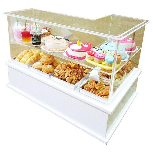Casa De Muñecas Miniaturas Acrílico en Forma de L-panadería mostrador con pastel y panadería