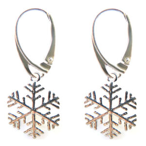 Image Is Loading Fashions Forever 925 Sterling Silver Snowflake Leverback Earrings