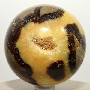 "2.4"" Septarian Dragon Stone Sphere Yellow Druzy Natural Crystal Ball Madagascar"